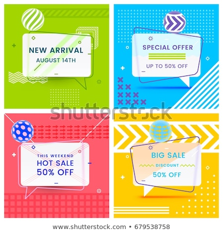 geometric sale banners set with text space in memphis style stock photo © sarts