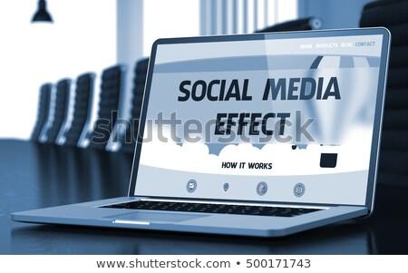 Landing Page of Laptop with Media Effect Concept. 3D. Stock photo © tashatuvango