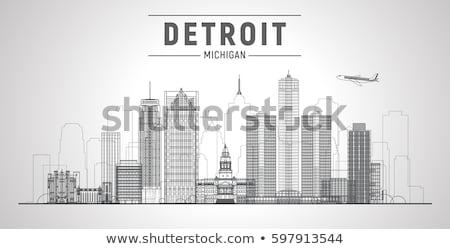 Linha Detroit bandeira cidade estilo Foto stock © Yuriy