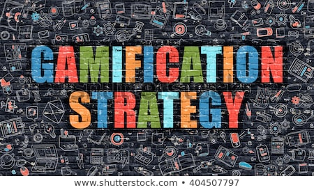 Multicolor Gamification Strategy on Dark Brickwall. Doodle Style. Stock photo © tashatuvango