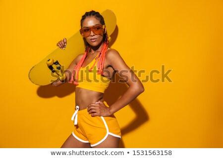 портрет привлекательный брюнетка женщину Солнцезащитные очки Сток-фото © deandrobot