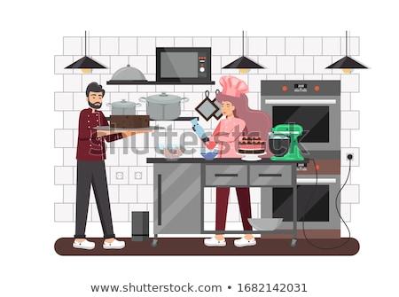Cartoon Woman Pastry Chef Baker With Cupcake Stock photo © Krisdog