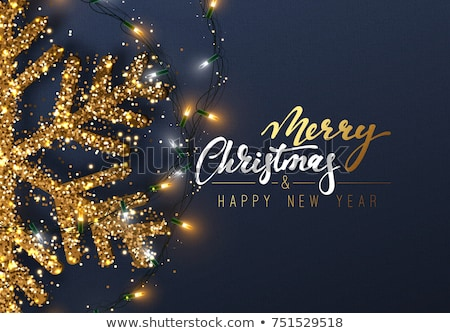 Merry Christmas and Happy New Year. Gold Snowflakes. Vector illustration. stock photo © Leo_Edition