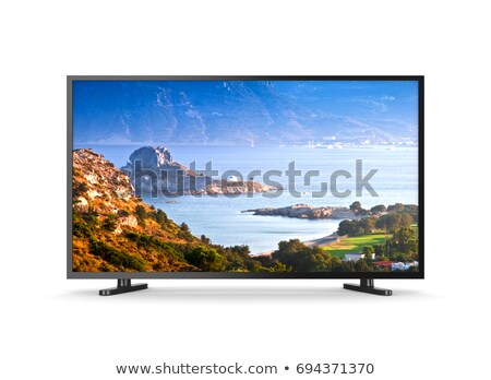 Tv Set with Screen Showing Greek Island Landscape Stock photo © make