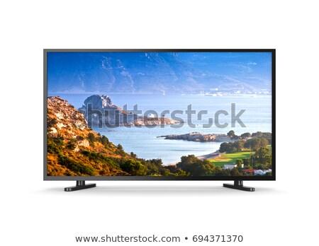tv · készülék · képernyő · modern · fehér · 3d · illusztráció · televízió - stock fotó © make