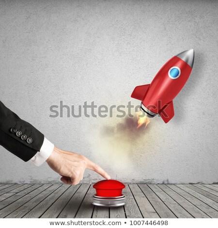 Empresário foguete empurrando vermelho botão 3D Foto stock © alphaspirit