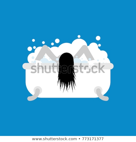Zombie girl in bath washes. Vector illustration of Halloween Stock photo © popaukropa