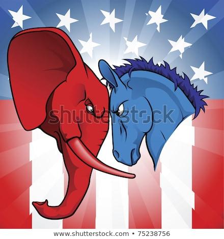 Szamár elefánt arc el sziluett amerikai zászló Stock fotó © Krisdog