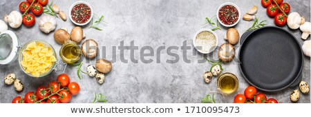 background template with pasta in pan stock photo © bluering