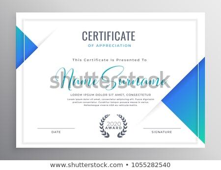 kék · bizonyítvány · elismerés · sablon · terv · háttér - stock fotó © sarts