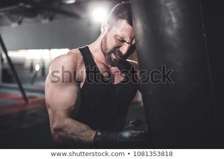 Fáradt boxoló dől homokzsák fitnessz stúdió Stock fotó © wavebreak_media