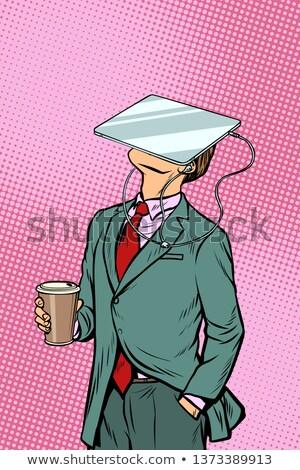 Foto stock: Empresário · potável · café · assistindo · comprimido · virtual
