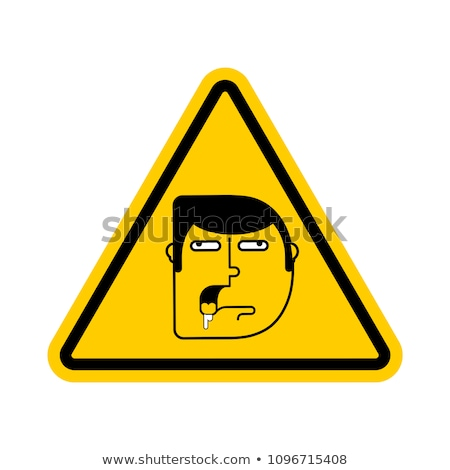 attention stupid caution blunt road yellow warning sign look stock photo © popaukropa