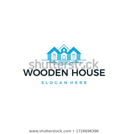 Eco house logo template. Flat design concept of eco house, wooden house. Stock logotype isolated on  Stock photo © JeksonGraphics