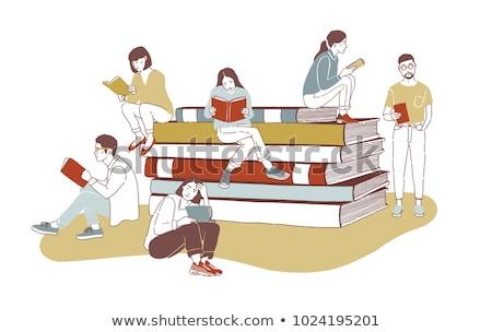 Fiatal lány diák boglya óriás könyvek nyitott könyv Stock fotó © vectorikart