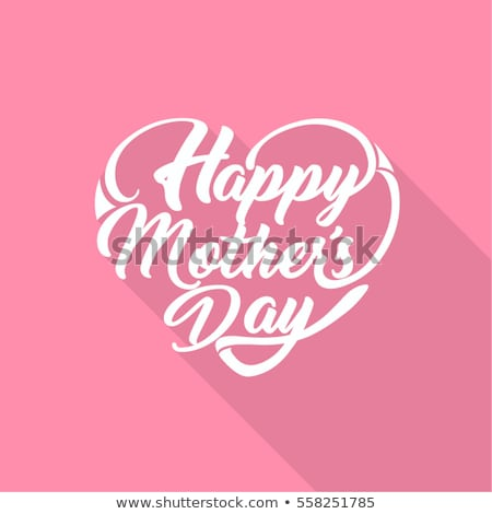 happy mothers day greeting card with flower and love you mom typographic elements on pink background stock photo © articular