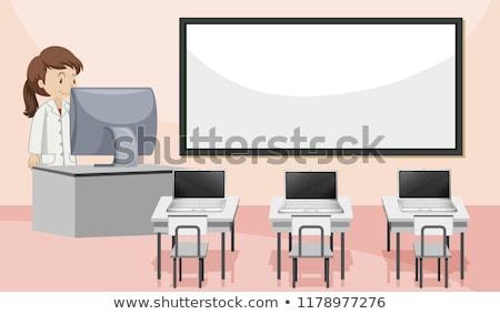 Interieur computerlokaal vrouwen achtergrond kunst bureau Stockfoto © bluering