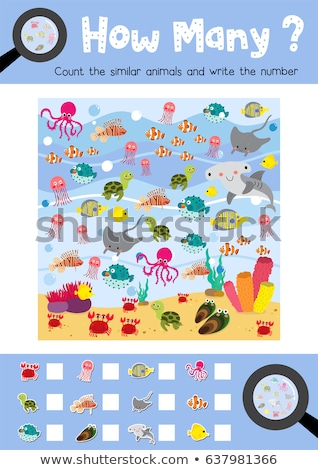 counting octopus characters educational game for kids stock photo © izakowski