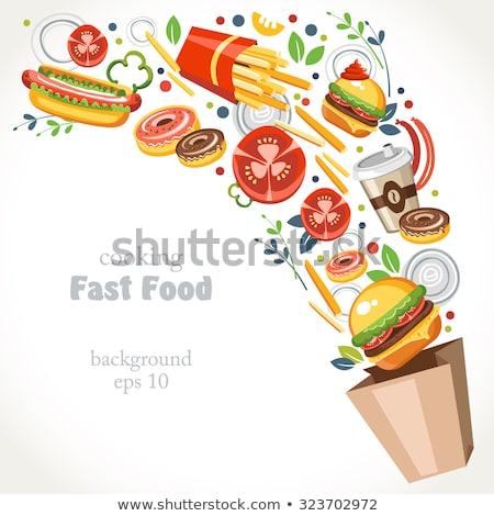 Hamburger ingrediënten fastfood restaurant pop art retro vintage Stockfoto © studiostoks