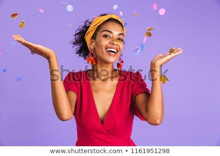 Wesoły Afryki kobieta sukienka uroczystości konfetti Zdjęcia stock © deandrobot