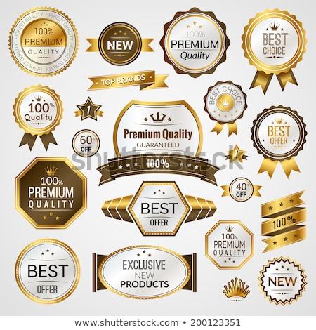 prima · calidad · garantizar · dorado · etiqueta - foto stock © robuart