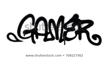 graffiti tag gamer sprayed with leak in black on white Stock photo © Melvin07