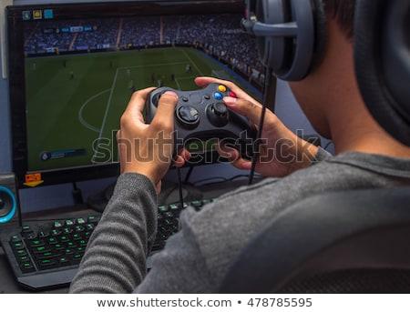 Сток-фото: изображение · молодым · человеком · играет · Видеоигры · компьютер