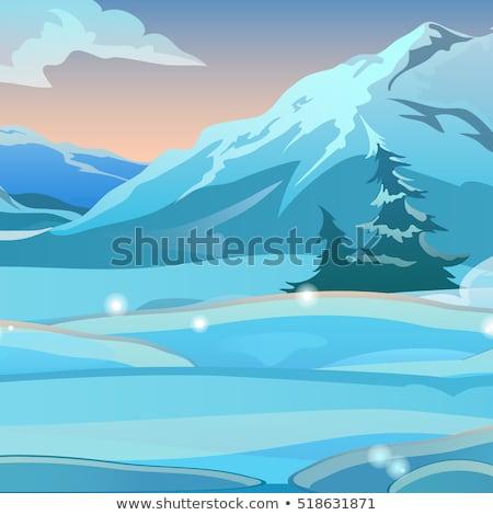 kettő · lucfenyő · hó · fagyos · reggel · napfelkelte - stock fotó © Lady-Luck