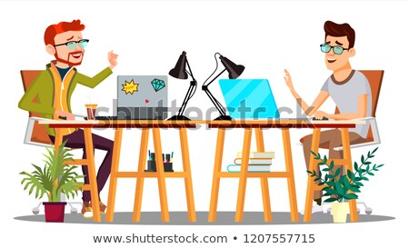 Two Colleagues Sitting At The Table With Computers Laughing At Joke Vector. Isolated Illustration Stock photo © pikepicture
