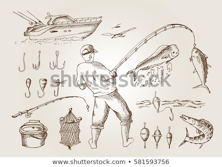 Pescatore atterraggio net illustrazione pesca Foto d'archivio © robuart