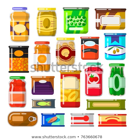 preserved food meal in jar vector illustration stock photo © robuart