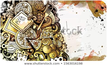 Cartoon watercolor hand drawn doodles Fastfood card design template Stock photo © balabolka