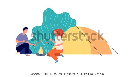 picnic vector bonfire and tent summer vacation outdoor relax isolated cartoon illustration stock photo © pikepicture