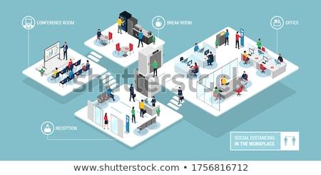 большой · служба · современных · мебель · изометрический · 3D - Сток-фото © tele52