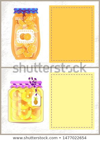 Canned Oranges and Pineapple Slices Banners Set Stock photo © robuart