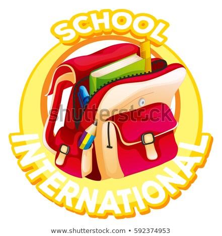 Logo-Design internationalen Schule Hintergrund Zeichen Tasche Stock foto © colematt