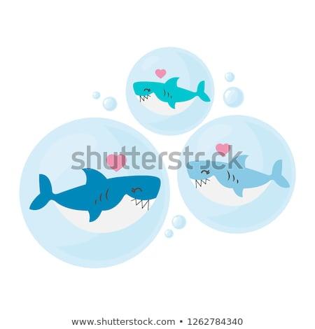 Cartoon акула любви иллюстрация рыбы Сток-фото © cthoman
