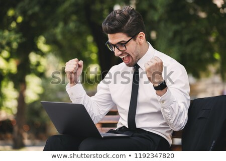 business man outdoors in the park using laptop computer make winner gesture stock photo © deandrobot