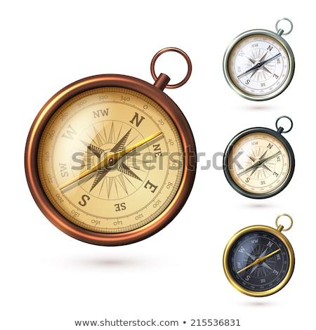 Kompas witte uit duisternis magnetisch naald Stockfoto © make