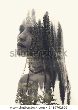 double exposure woman profile with water Stock photo © dolgachov