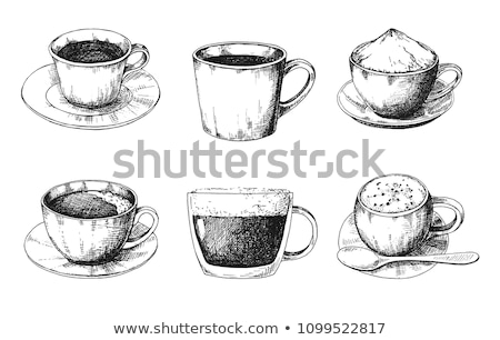 Kroki farklı kupa kahve fincan tabağı stil Stok fotoğraf © Arkadivna