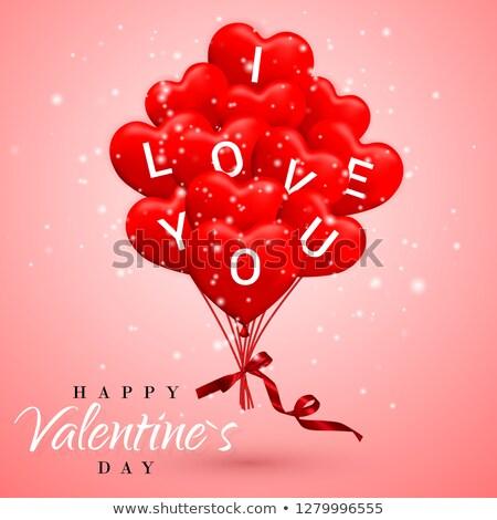 Miłości szczęśliwy walentynki czerwony balon formularza Zdjęcia stock © olehsvetiukha
