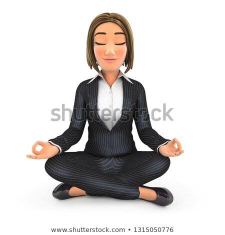 Stockfoto: 3D · zakenvrouw · vergadering · lotus · positie · yoga