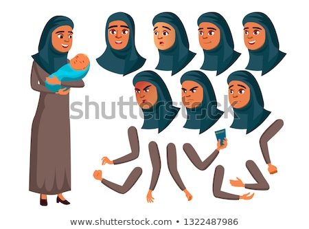 Arab, Muslim Teen Girl Vector. Teenager. Adult People. Mother And Baby. Casual. Fun, Cheerful. Face  Stock photo © pikepicture