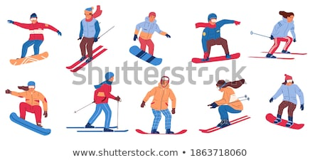 Winter Hobbies and Activities of People Set Vector Stock photo © robuart