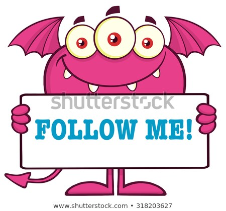 Smiling Pink Monster Cartoon Character Holding A Follow Me Sign Stock photo © hittoon