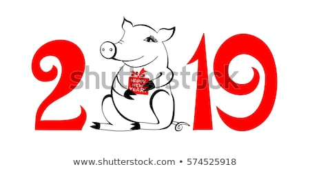 Piglet Symbol of New Year with Gift Box Isolated Stock photo © robuart