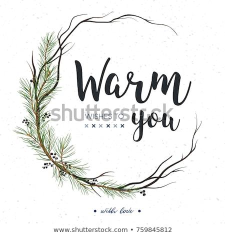 Vrolijk christmas pijnboom krans cirkel Stockfoto © robuart