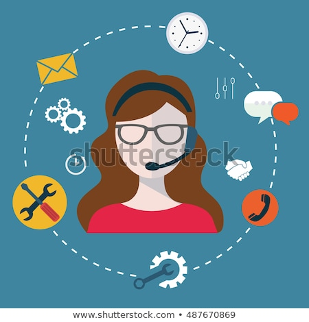 Business customer care service concept flat icons set of contact us support help desk phone call and Stock photo © makyzz
