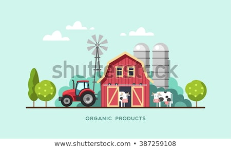 animals in the farm scene nature and country concept flat vector illustration stock photo © makyzz